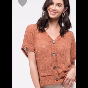 Tops - Rust knit buttoned down top ( 3 LEFT )